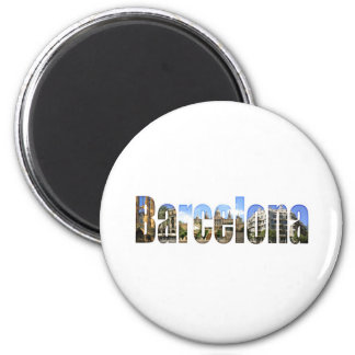Barcelona with tourist attractions in letters 6 cm round magnet