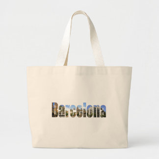 Barcelona with tourist attractions in letters tote bag