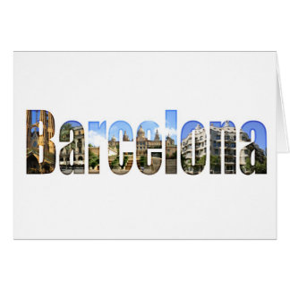 Barcelona with tourist attractions in letters card