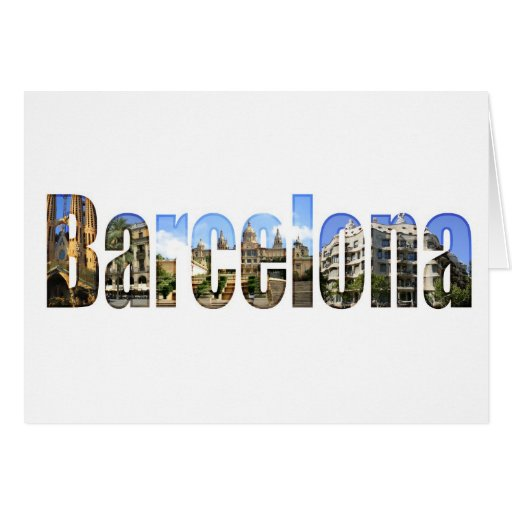 Barcelona with tourist attractions in letters cards