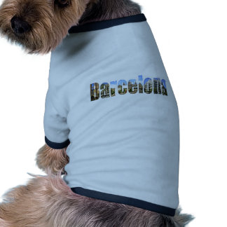 Barcelona with tourist attractions in letters dog tee