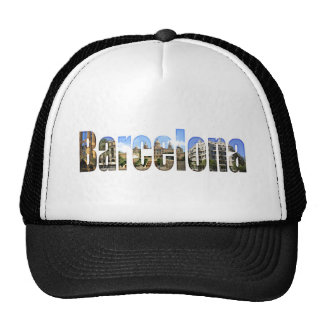 Barcelona with tourist attractions in letters mesh hats