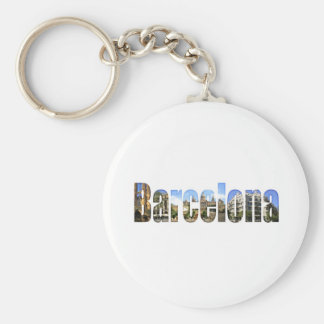 Barcelona with tourist attractions in letters keychains