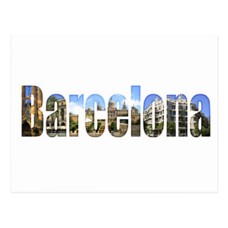 Barcelona with tourist attractions in letters postcard