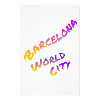 Barcelona world city colorful text  art stationery