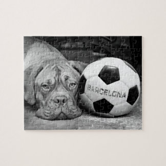 Barcelona's soccer fanatic dog. Barcelona, Spain Puzzles