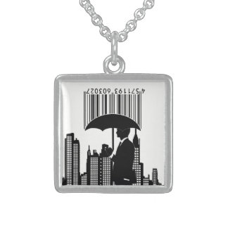 barcode and umbrella man silhouette necklace