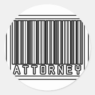 Barcode Attorney Round Stickers