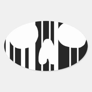 Barcode Skull Oval Sticker
