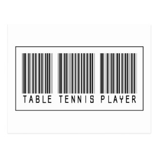 Barcode Table Tennis Player Postcard
