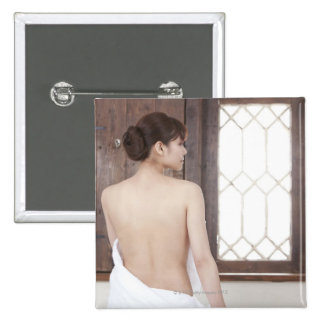 Bare Back of Young Woman 15 Cm Square Badge