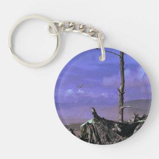 Bare Tree and Driftwood on a Coastal Shoreline Single-Sided Round Acrylic Key Ring