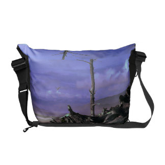 Bare Tree and Driftwood on a Coastal Shoreline Courier Bags