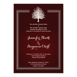 Bare Tree on Deep Red Wedding Invitation