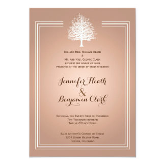 Bare Tree on Orange Cream Wedding Invitation