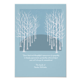 Bare Trees Funeral Photo Thank You Card