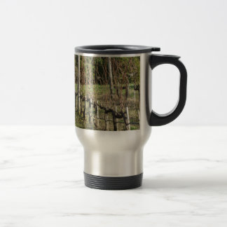Bare vineyard field in winter . Tuscany, Italy Travel Mug