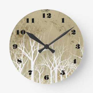 Bare Winter Trees Round Clock