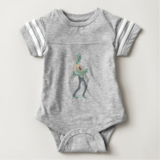 Barefoot Creepy Zombie With Rotting Flesh Outlined Baby Bodysuit