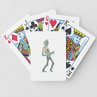 Barefoot Creepy Zombie With Rotting Flesh Outlined Bicycle Playing Cards