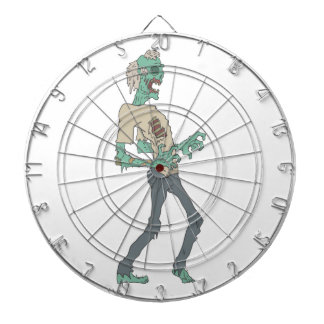 Barefoot Creepy Zombie With Rotting Flesh Outlined Dartboard