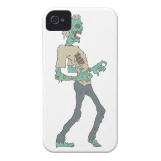 Barefoot Creepy Zombie With Rotting Flesh Outlined iPhone 4 Cover