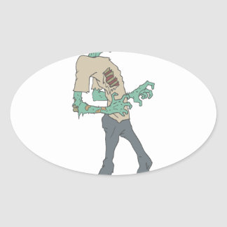 Barefoot Creepy Zombie With Rotting Flesh Outlined Oval Sticker