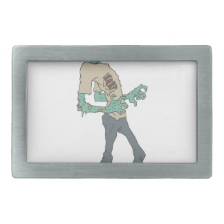 Barefoot Creepy Zombie With Rotting Flesh Outlined Rectangular Belt Buckle