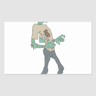Barefoot Creepy Zombie With Rotting Flesh Outlined Rectangular Sticker