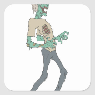 Barefoot Creepy Zombie With Rotting Flesh Outlined Square Sticker