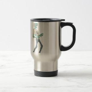 Barefoot Creepy Zombie With Rotting Flesh Outlined Travel Mug