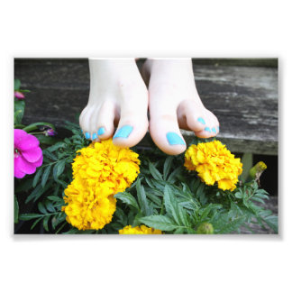 Barefoot with Yellow Flowers Photo Print