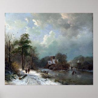 Barend Cornelis Koekkoek Winter Landscape, Holland Poster