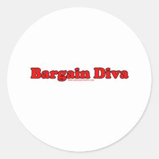 Bargain Diva Round Stickers