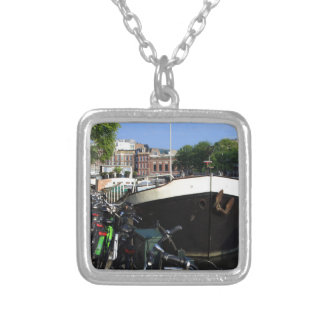 Barge and bicycles, Amsterdam Silver Plated Necklace