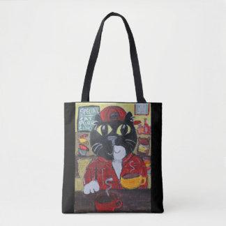 Barista Cat Folk Art Character Tote Bag