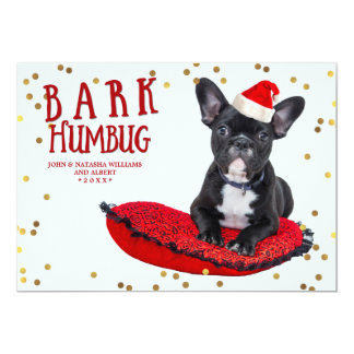 BARK Humbug Cute Dog Lovers Holiday Photo Card 13 Cm X 18 Cm Invitation Card