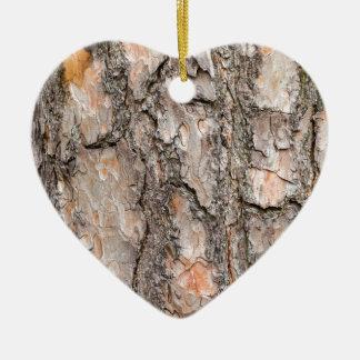 Bark of Scotch pine tree as background Ceramic Heart Decoration