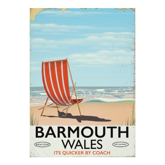 Barmouth North wales vintage travel poster