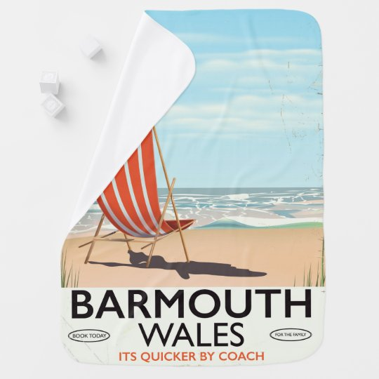 Barmouth North wales vintage travel poster Baby Blanket