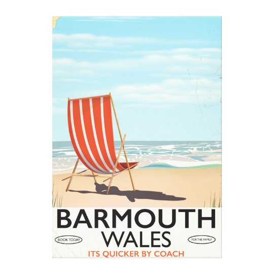 Barmouth North wales vintage travel poster Canvas Print