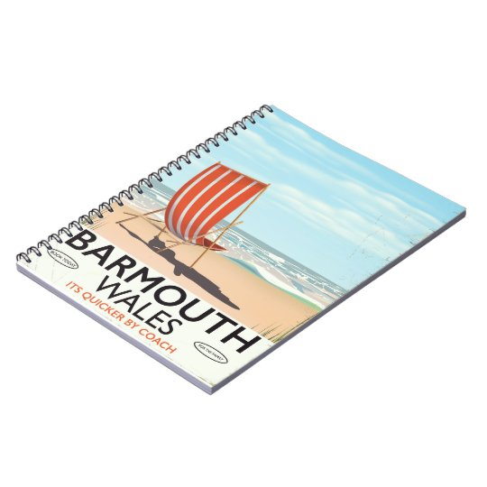 Barmouth North wales vintage travel poster Notebook