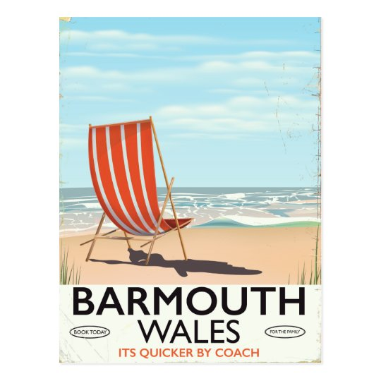 Barmouth North wales vintage travel poster Postcard