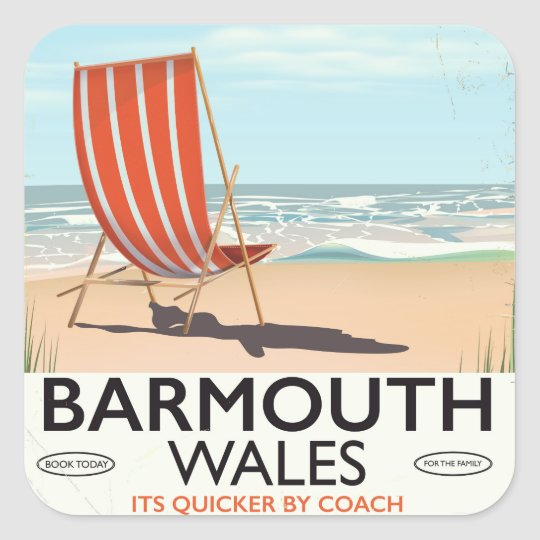 Barmouth North wales vintage travel poster Square Sticker