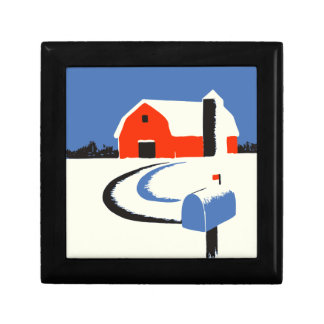 Barn And Mailbox In The Snow Gift Box
