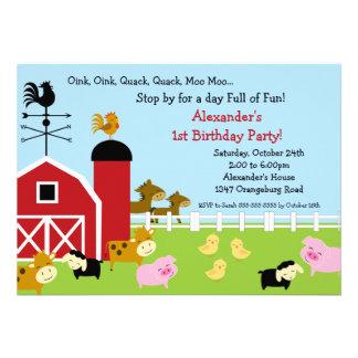 Barn Animal Fun Birthday Party Invite