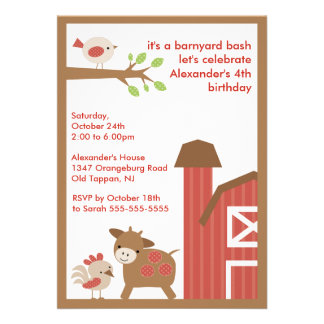 Barn Animal Fun Birthday Party Invites