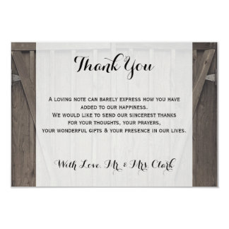 Barn Doors Thank you Card