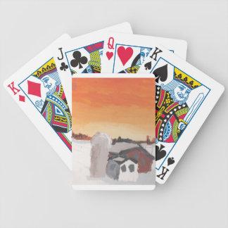 barn farm house sun sunset drawing eliana poker deck