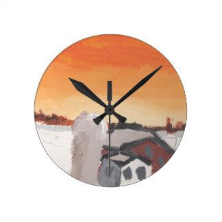 barn farm house sun sunset drawing eliana round clock
